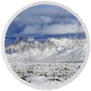 Round Beach Towel featuring the photograph Winter Beauties Organ Mountains by Kurt Van Wagner