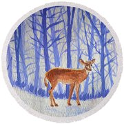 Winter Begins Round Beach Towel