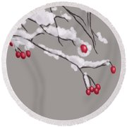 Winter Berries And Branches Covered In Snow Round Beach Towel