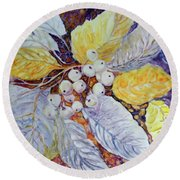 Round Beach Towel featuring the painting Winter Berries by Joanne Smoley