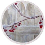Winter Berries Watercolor Round Beach Towel