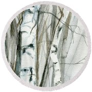Winter Birch Round Beach Towel
