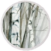 Round Beach Towel featuring the painting Winter Birch by Laurie Rohner