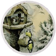 Winter Bird Table With Blue Tits Round Beach Towel