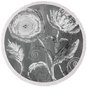 Round Beach Towel featuring the digital art Winter Bloom II by Robin Maria Pedrero