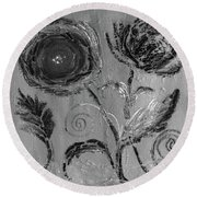 Round Beach Towel featuring the digital art Winter Blooms IIi by Robin Maria Pedrero