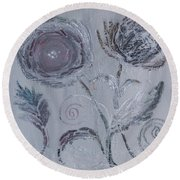 Round Beach Towel featuring the painting Winter Blooms by Robin Maria Pedrero