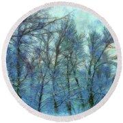 Winter Blue Forest Round Beach Towel