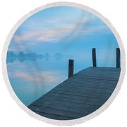 Round Beach Towel featuring the photograph Winter Blues by Davor Zerjav