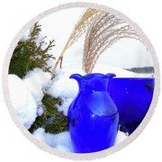 Winter Blues II Round Beach Towel by Randy Rosenberger
