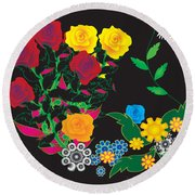 Winter Bouquet Round Beach Towel by Kim Prowse