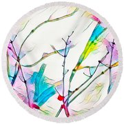 Winter Branch Colors Round Beach Towel