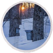 Winter Buckets Round Beach Towel