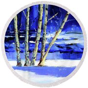 Round Beach Towel featuring the painting Winter By The River by Nancy Merkle
