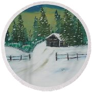 Winter Cabin Round Beach Towel