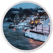 Winter Canal Walk Round Beach Towel by Everet Regal