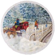 Winter Carriage In Central Park Round Beach Towel