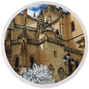 Winter Cathedral Round Beach Towel