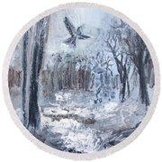 Round Beach Towel featuring the painting Winter Caws by Robin Maria Pedrero