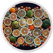 Winter Citrus Mosaic Round Beach Towel