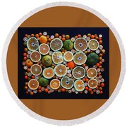 Winter Citrus Mosaic Round Beach Towel
