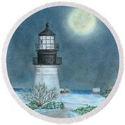 Winter Coast Round Beach Towel by Troy Levesque