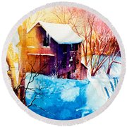 Round Beach Towel featuring the painting Winter Color by Hanne Lore Koehler