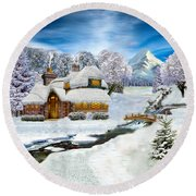 Winter Country Cottage Round Beach Towel