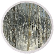 Round Beach Towel featuring the painting Winter Country by Tatiana Iliina