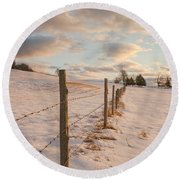 Winter Countryside Round Beach Towel