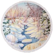 Winter Creek 1  Round Beach Towel by Inese Poga