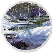 Round Beach Towel featuring the painting Winter Creekbed by Andrew King
