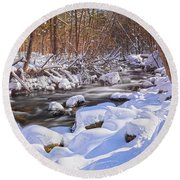 Winter Crisp Round Beach Towel by Angelo Marcialis