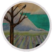 Round Beach Towel featuring the painting Winter Crows by Jeanette French