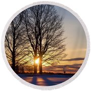 Round Beach Towel featuring the photograph Winter, Crystal Spring Farm, Brunswick, Maine -78592 by John Bald