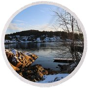 Winter Day By The Oslo Fjords, Norway.  Round Beach Towel