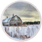 Round Beach Towel featuring the digital art Winter Days In Vermont by Sharon Batdorf