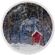 Round Beach Towel featuring the photograph Winter, Down East Maine  by Trace Kittrell