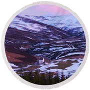 Winter Dusk At Corgarff Round Beach Towel