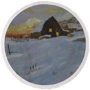Winter Dusk On The Farm Round Beach Towel