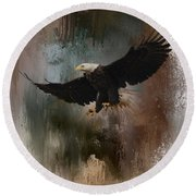 Winter Eagle 1 Round Beach Towel