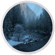 Winter El Cap  Round Beach Towel