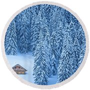 Winter Escape Round Beach Towel by JR Photography