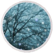 Winter Evening Snowfall Round Beach Towel