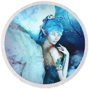 Winter Fairy In The Mist Round Beach Towel