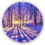 Winter Fairy Tale Round Beach Towel
