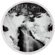Winter Falls With Sun Round Beach Towel by Alan Raasch