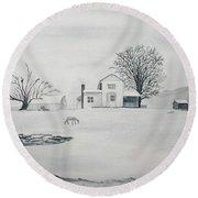 Winter Farm 2 Round Beach Towel by Christine Lathrop