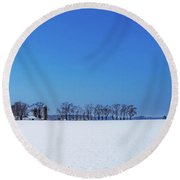Winter Farm Blue Sky Round Beach Towel