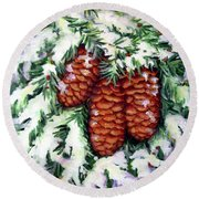 Winter Fir Cones Round Beach Towel by Inese Poga
